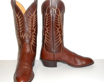 Mens 10 AA Cowboy Boots Nocona Narrow Brown Vintage Classic Western Urban Shoes