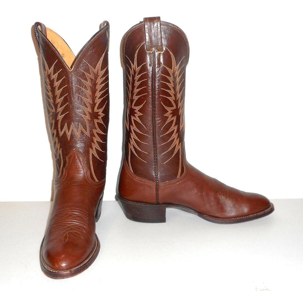 mens 10 aa cowboy boots nocona narrow brown vintage classic