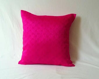 hot pink decorative pillow.     Fuschia pink cushion cover. Art silk luxury pillow cove.  Floral pillow.