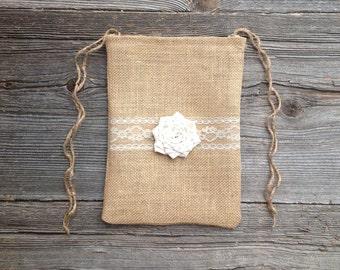 Dollar Dance Bag - Money Bag - Wedding Bag - Wedding Dance Bag - Rustic Wedding - Burlap Bag - Ivory Wedding - Burlap Lace Bag - Ivory Bag