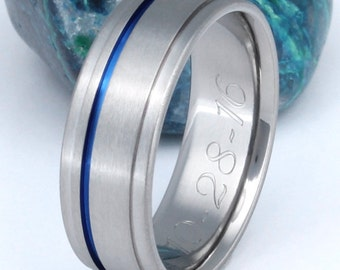 Thin Blue Line Titanium Band, Wedding Ring, Man's Ring, Blue Custom Ring, Woman's Ring, Handcrafted Titanium,  - b7