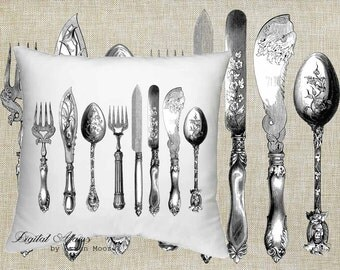Digital Download Tea Room Collection Vintage Old Table Settings Black & White Image For Papercrafts, Transfer, Pillows, Totes, Etc va34