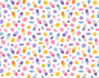 Rainbow Pills Fabric - Pills By Stolenpencil - Colorful Chill Pill Medicine Capsule Tablet Cotton Fabric By The Yard With Spoonflower