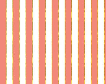 Pink and Gold Stripe Fabric - Puttin' On The Ritz Stripe In Coral And Gilt By Willowlanetextiles- Cotton Fabric By The Yard With Spoonflower