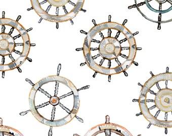 Nautical Wheel Fabric - Ships Wheel By Emmaallardsmith - Baby Boy Nautical Nursery Decor Cotton Fabric By The Yard With Spoonflower