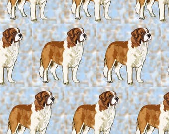 Blue Saint Bernard Fabric - Saint Bernard By Dogdaze - Blue Saint Bernard Pet Portait Cotton Fabric By The Yard With Spoonflower