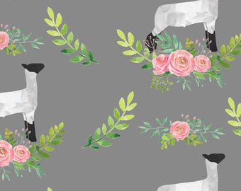 Gray Lamb + Floral Fabric - Showstock Roses - Lamb By Thecraftyblackbird - Lamb Cotton Fabric By The Yard With Spoonflower