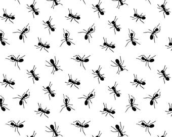Ants! Fabric - Ants By Uramarinka - Black and White Ant Cotton Fabric By The Yard With Spoonflower