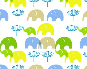 Elephant Family Fabric - Zousan Green By Wakikot - Watercolor Elephant Nursery Decor Cotton Fabric By The Yard With Spoonflower