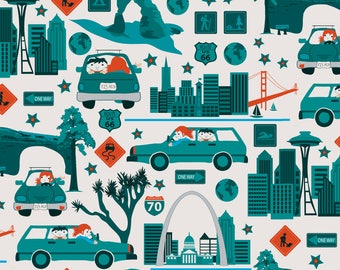 American Road Trip Fabric - 4038 Miles By Ebygomm - Highways Family Summer Vacation USA Cotton Fabric By The Yard With Spoonflower