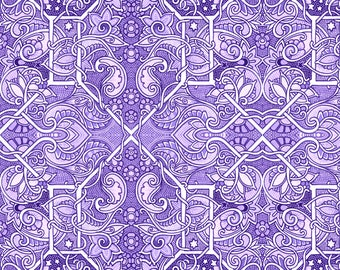 Vintage Fabric - Purple Paisley Patch By Edsel2084 - Art Nouveau Purple White Intricate Floral Cotton Fabric By The Yard With Spoonflower