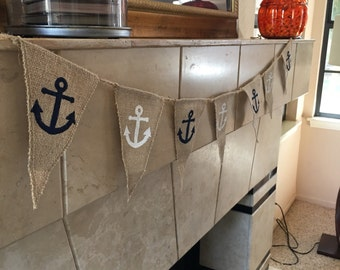 Anchors Away Burlap Banner