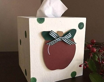 Apple tissue box, personalized, boutique style