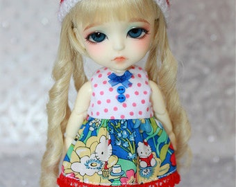 SALE - LATI Yellow PukiFee - Hello Kitty Series - Summer Flowers - DRESS - White Red Dotted - Royal Blue