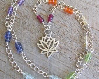 Chakra Healing Silver Lotus Gemstone Healing Necklace, Yoga Chakra Jewelry