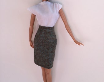 Handmade Barbie Clothes Top Skirt P D Reneau Designs (Q305)