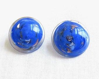 Bright Blue Button Earrings Gold Foil Spun Vintage