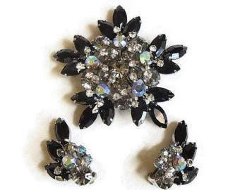 Juliana Rhinestone Star Brooch and Earrings Black, Smoke and Aurora Borealis D&E Verified Vintage Set