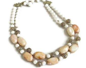 Vintage Double Strand Necklace with Lucite & Filigree Ball Beads