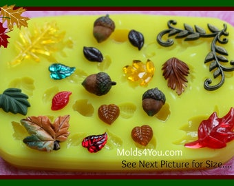 Acorn Mold Silicone Leaf Mold Resin Mold Fondant Leaves Mould Sugar Wax Soap Baking Polymer Clay Autumn Maple Leaves Mold Leaf Cabochon Mold