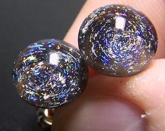 Tiny 3D Galaxy Stars Earrings V2- Handmade Glass Stud Lampwork Earrings SRA