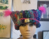 Awesome Multicolor Crocheted Pussyhat Hot Pink Accents and  Cat Pin Cat Ears