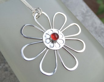 Carnelian Daisy - Sterling Silver Wire Flower Pendant - Handmade Gemstone Metalwork Wirework Jewelry - Blossom Petals Floral