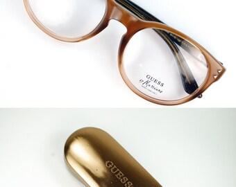 Italian Made Vintage Round P3 Golden Brown Horn Rim Wayfarer Eyeglasses Frame Vintage 1980s NOS