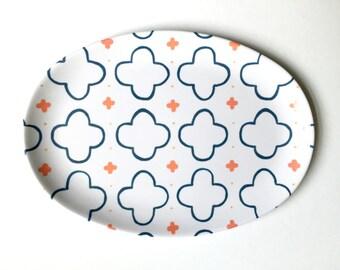 Melamine Platter - Blue Clover