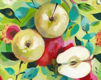 Apples on a floral red pink and green fabric - acrylic ORIGINAL painting on canvas - Drawing Still Life - wall art- wall decor- home decor