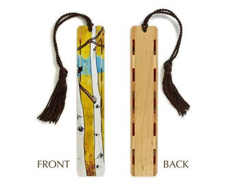 Aspen Trees - Art by Christi Sobel on Solid Wooden Bookmark with Tassel