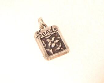 Vintage Sterling Silver Gardening Charm Seed Packet Gift for Gardener Pendant Fob