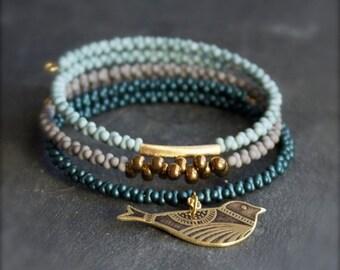 ON SALE Bird Bracelet Set - Etched Brass Charm, Beaded Wrap Cuff - Dark Teal, Light Grey, Baby Blue - Boho Jewelry