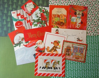 Vintage Christmas Holiday Card Lot in Reds | Santa Claus Animals Snow Scenes Angels