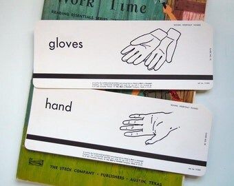 2 Vintage 1962 Flashcard Set Gloves and Hand Flash Cards Frameable Words