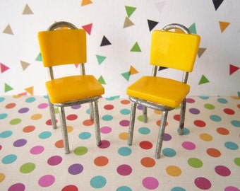 2 Vintage 1950's Dollhouse Miniatures Yellow Dining Room Chairs Metal and Plastic Furniture