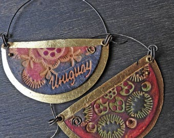 "Artisan blade hoop earrings with leather and gold leaf, rustic bohemian- ""Elysian"""