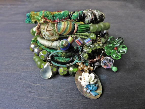 "Rustic bangle stack in apple green. Beaded stitched textile bohemian bracelet set ""A Midsummer Stroll"""