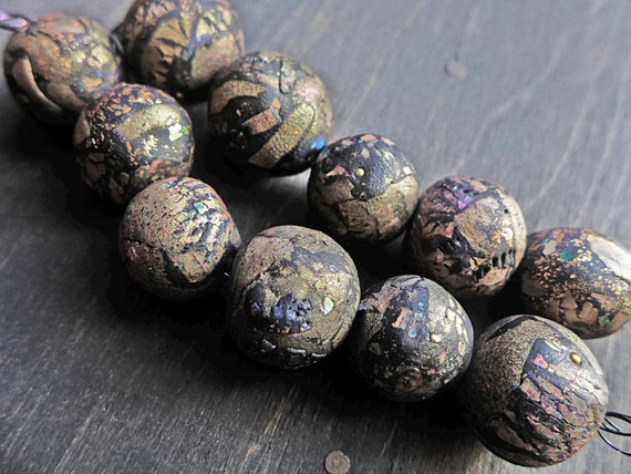 Large handmade art beads with hollow core, crackle texture and iridescence- Dark Treasure series