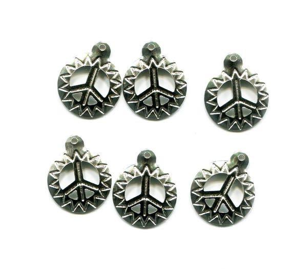 peace sign charms peace charms peace symbol sun charms metal silver charms 6 pc 15mm engraved etched peace pendants jewelry findings