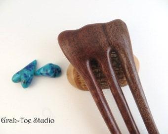 Hair Fork , Hairsticks,Wood Hair Fork, Hair Accessory, Hairforks, Bishofia Wood 3 Prong Threnody, Grahtoe Studio GTS Hair Art