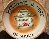 RESERVED LISTING for Mary Ann Carrington--Vintage Italian Ceramic Solimene Vietri 1986 Buon Ricordo Restaurant Plate - Oristano