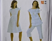 BURDA Easy Sewing Pattern 7969 Misses' Tunic and Dress Semi Fitted Drawstring Waist Sleeveless UNCUT Factory Folds Sizes 12-24
