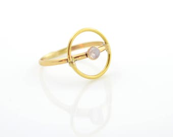 Halo Ring, moonstone, brass, gold, thin, dainty, delicate