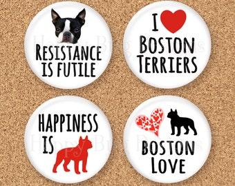 """Boston Terrier Magnet Set of 4 1.25"""" 1-1/4 inch"""
