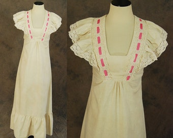 vintage 70s Maxi Dress - 1970s Cotton Prairie Dress - Hippie Flutter Sleeve Dress Sz S