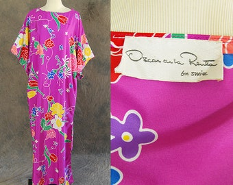 vintage 80s Oscar de la Renta for Swirl Caftan - Spring Floral Maxi Dress - 1980s Designer Dress Loungewear Sz S M L