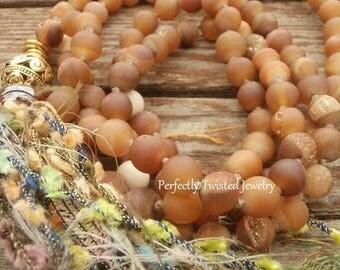 108 Bead Shabby Tassel BoHo Mala Necklace, Peach Agate Druzy, Fossil Jasper, Perfectly Twisted, Handmade Shabby Tassel Jewelry, Boho Mala