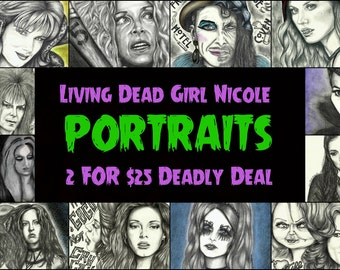 Portrait Drawing Art Prints: 2 for 25 Portrait Deal