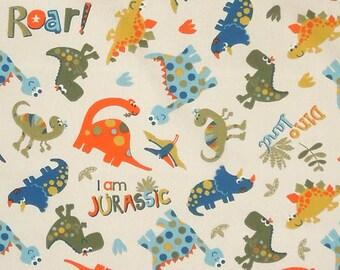 Cream Dinosaur Fabric, Kids Fun Dino Land Cotton Fabric, Children's Cotton Jurassic Dinosaur Fabric